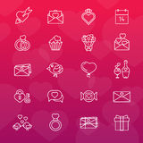 Grupo 20 da linha ícones Dia do Valentim Foto de Stock