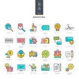 Grupo da linha ícones modernos da cor para a compra em linha Foto de Stock Royalty Free