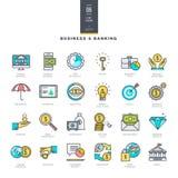 Grupo da linha ícones modernos da cor para o negócio e a operação bancária