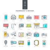 Grupo da linha ícones modernos da cor para a tecnologia e os dispositivos eletrónicos ilustração stock