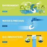 Grupo da linha lisa bandeiras da Web do projeto para o ambiente ilustração stock