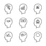 Grupo da linha principal ícone dos povos, pensando do cérebro, engodo do negócio Fotografia de Stock Royalty Free