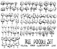 Grupo da linha tirada mão ep do esboço da garatuja da ilustração da árvore Imagens de Stock Royalty Free