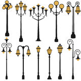Grupo da lâmpada de rua Fotografia de Stock