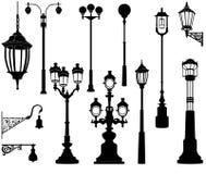 Grupo da lâmpada de rua Fotografia de Stock Royalty Free