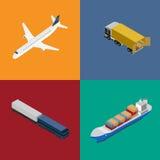 Grupo da logística e do ícone do transporte do frete ilustração royalty free