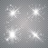 Grupo da luz do fulgor branco ilustração do vetor
