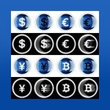 Grupo da maioria de ícones populares do dinheiro: bitcoin, euro, dólar, iene sobre imagens de stock royalty free
