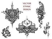 Grupo da mandala da hena da tatuagem Fotografia de Stock