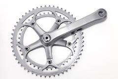 Grupo da manivela da bicicleta e anel da corrente imagem de stock