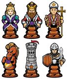Grupo da mascote das partes de xadrez ilustração royalty free