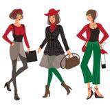 Grupo da menina da forma do outono Imagens de Stock