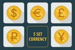 Grupo da moeda de ícones no fundo branco Foto de Stock
