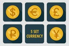 Grupo da moeda de ícones no fundo escuro Foto de Stock