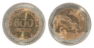 Grupo da moeda dos pesos de Colômbia Foto de Stock Royalty Free