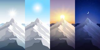 Grupo da montanha da natureza Um sol do meio-dia, alvorecer, por do sol, noite nas montanhas Paisagens com pico Alpinismo, viajan ilustração do vetor