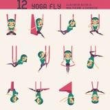 Grupo da mosca da ioga ilustração do vetor