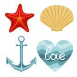 Grupo da natureza do vetor de ?ncora do escudo da estrela do mar e de fundo ondulado Desenho do vetor ilustração royalty free