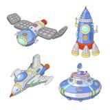 Grupo da nave espacial e dos desenhos animados do vetor do UFO, Rocket, nave espacial Fotografia de Stock Royalty Free