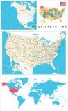 Grupo da navegação da coleção de mapas dos EUA grande Fotos de Stock