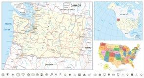 Grupo da navegação do mapa do estado de Washington Fotografia de Stock Royalty Free