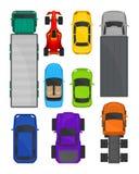 Grupo da opinião superior dos carros e dos caminhões, cidade e carga entregando o transporte, veículos para a ilustração do vetor ilustração do vetor