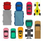 Grupo da opinião superior dos carros e dos caminhões, cidade, competência e carga entregando os veículos, automóveis para o vetor ilustração royalty free