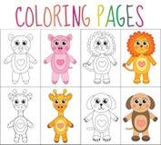Grupo da página do livro para colorir Coleção dos animais Versão do esboço e da cor para crianças A educação das crianças Vetor I Imagens de Stock