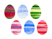 Grupo da Páscoa de ovos coloridos aquarela Fotos de Stock Royalty Free