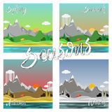Grupo da paisagem das estações Imagem de Stock Royalty Free