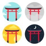 Grupo da paisagem da porta de Torii ilustração royalty free