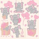 Grupo da parte bonito 2 do elefante do Valentim Fotografia de Stock