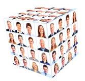 Grupo da pessoa do negócio. Colagem do cubo. imagens de stock royalty free