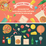 Grupo da pizza do vetor Fotografia de Stock Royalty Free