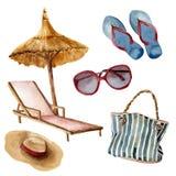 Grupo da praia do verão da aquarela Objetos pintados à mão das férias de verão: óculos de sol, guarda-chuva de praia, cadeira de  ilustração stock