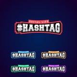 Grupo da prata ou do aço completo da tipografia 3D do poder de Hashtag ilustração stock