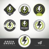 Grupo da qualidade de etiquetas e de emblemas verdes da energia Fotos de Stock Royalty Free