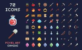 Grupo da relação do jogo de vídeo do ícone do projeto de jogo do vetor da arte do pixel Armas, alimento, artigos, poção, mágica Foto de Stock Royalty Free