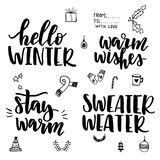 Grupo da rotulação do inverno ilustração stock