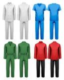 Grupo da roupa de trabalho branca e colorida. ilustração royalty free