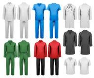 Grupo da roupa de trabalho branca e colorida ilustração stock