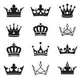Grupo da silhueta da coroa Fotografia de Stock Royalty Free