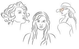 Grupo da silhueta da mulher ilustração do vetor