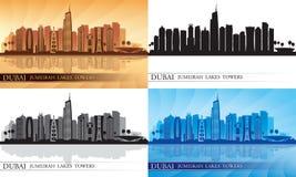 Grupo da silhueta da skyline das torres dos lagos dubai Jumeirah Imagem de Stock