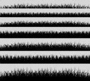 Grupo da silhueta das beiras da grama Fotografia de Stock