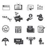 Grupo da silhueta do ícone do imposto Imagens de Stock