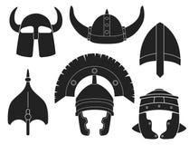 Grupo da silhueta do capacete Fotos de Stock Royalty Free