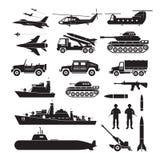 Grupo da silhueta do objeto dos veículos militares, vista lateral ilustração do vetor