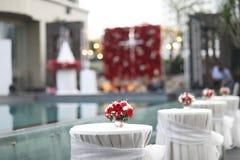 Grupo da tabela para o casamento ou um outro jantar abastecido do evento, ajuste luxuoso da tabela do casamento para o jantar fin foto de stock