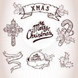 Grupo da tatuagem do Natal ilustração royalty free